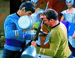 Kirk and Spock in close combat