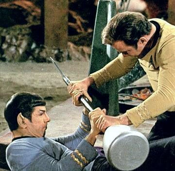 Spock and Kirk fight for a lirpa