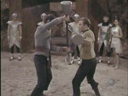 Kirk and Spock start to fight